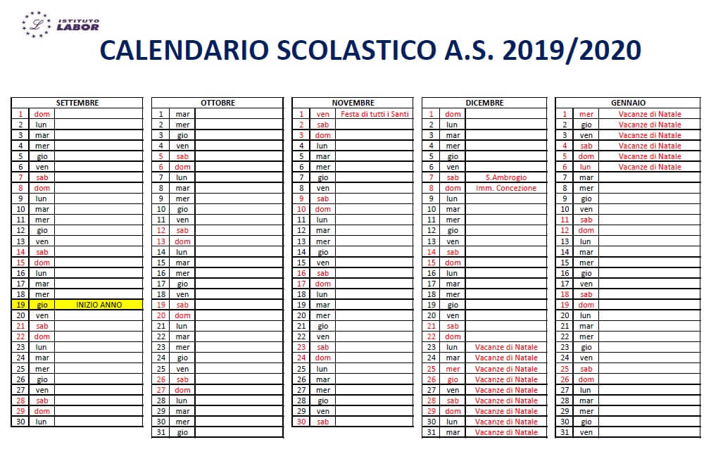 calendario 19/20 1 quadrimestre istituto labor