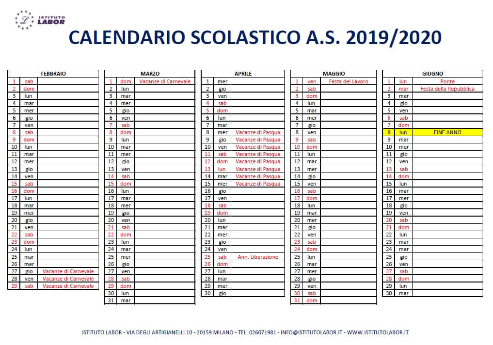 calendario labor